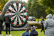 Some fun and games outside the ground for young and old, Foot-Darts is available ahead of the Ladbrokes Scottish Premiership match between St Mirren and Hibernian at the Simple Digital Arena, Paisley, Scotland on 29th September 2018.
