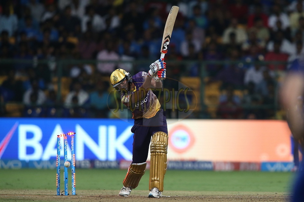Ankit Singh Rajpoot of the Kolkata Knight Riders is bowled by Lasith Malinga of the Mumbai Indians during the 2nd qualifier match of the Vivo 2017 Indian Premier League between the Mumbai Indians and the Kolkata Knight Riders held at the M.Chinnaswamy Stadium in Bangalore, India on the 19th May 2017<br /> <br /> Photo by Shaun Roy - Sportzpics - IPL