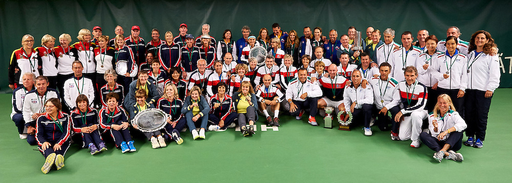 Helsinki, Finland - 2016 June 24: All awarded senior teams pose while awarding ceremony during 2016 ITF Seniors World Team Championships at Talin Tenniskeskus on June 24, 2016 in Helsinki, Finland.<br /> <br /> Adam Nurkiewicz declares that he has no rights to the image of people at the photographs of his authorship.<br /> <br /> Picture also available in RAW (NEF) or TIFF format on special request.<br /> <br /> Any editorial, commercial or promotional use requires written permission from the author of image.<br /> <br /> Mandatory credit:<br /> Photo by &copy; Adam Nurkiewicz