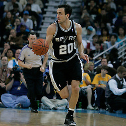 29 March 2009: San Antonio Spurs guard Manu Ginobili (20) drives with the ball during a 90-86 victory by the New Orleans Hornets over Southwestern Division rivals the San Antonio Spurs at the New Orleans Arena in New Orleans, Louisiana.