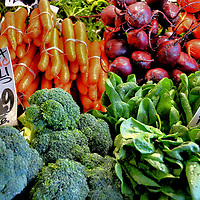 Broccoli, Carrots, Beets, Spinach at Public Market Center in Seattle, Washington