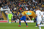 Krystian Pearce (5) plays the ball during the EFL Sky Bet League 2 second leg Play Off match between Mansfield Town and Newport County at the One Call Stadium, Mansfield, England on 12 May 2019.