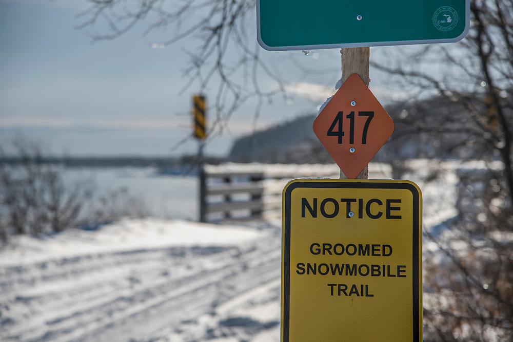 Snwomobile signage near Marquette, Michigan.