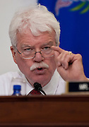 "May 26, 2010 - Washington, District of Columbia, U.S., -  Representative George Miller questions Interior Secretary Ken Salazar during a House Natural Resources Committee  hearing on ""Outer Continental Shelf Oil and Gas Strategy and Implications of the Deepwater Horizon Rig Explosion."".(Credit Image: © Pete Marovich/ZUMA Press)"