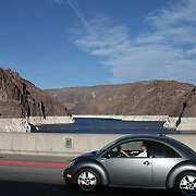 New Volkswagen Beetle in Nevada crossing the Hoover Dam.