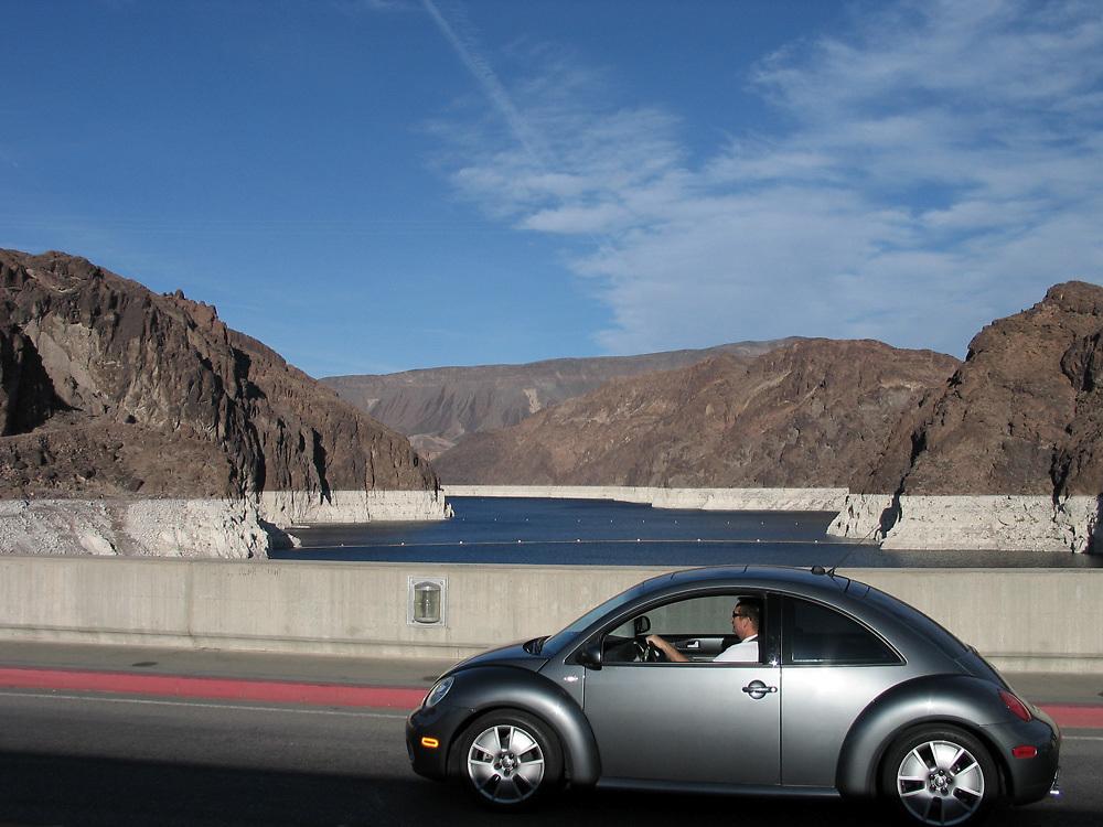New Volkswagen Beetle in Nevada crossing the Hoover Dam.