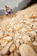 Riders crossing a boulder-field during stage 3 of the 2011 Absa Cape Epic Mountain Bike stage race held from Saronsberg Wine Estate in Tulbagh to Worcester Gymnasium in Worcester, South Africa on the 30 March 2011..Photo by Greg Beadle/Cape Epic/SPORTZPICS