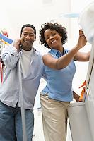 Couple doing housework