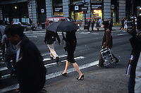 Woman in black in New York City. Kodachrome