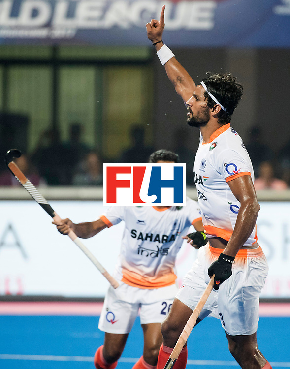 BHUBANESWAR - The Odisha Men's Hockey World League Final . Match ID 06 . India v England (2-3).  Rupinder Pal Singh (Ind) scored 2-2.     WORLDSPORTPICS COPYRIGHT  KOEN SUYK