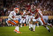 #3 Artavis Scott of Clemson and #26 Marlon Humphrey of Alabama, during first quarter game action.