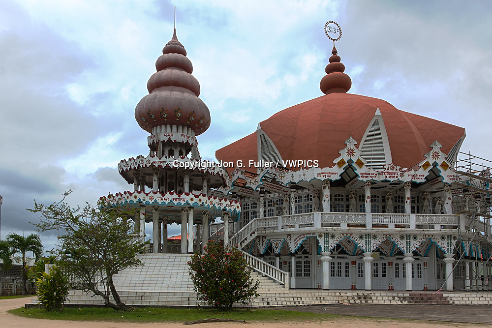 This mandir or Hindu temple was built by the Arya Dewaker society in Paramaribo, Suriname.