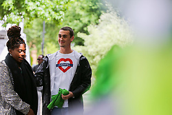 © Licensed to London News Pictures. 14/06/2019. London, UK. Friends of the victims arrive at St Helen's Church to commemorate the second anniversary of the Grenfell Tower fire service. On 14 June 2017, just before 1:00am a fire broke out in the kitchen of the fourth floor flat at the 24-storey residential tower block in North Kensington, West London, which took the lives of 72 people. More than 70 others were injured and 223 people escaped. Photo credit: Dinendra Haria/LNP