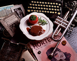 antique, typewriter, trumpet, sheet, music, buttons, decade, 1920, 1930, sheet music Oh my sweet Hortense she ain't good lookin but she's got good sense Berlin steaks gravy stuffed with green peas on white plate