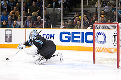 March 4, 2010; San Jose, CA, USA; San Jose Sharks goalie Evgeni Nabokov (20) makes a save against the Montreal Canadiens during the first period at HP Pavilion.  San Jose defeated Montreal 3-2. Mandatory Credit: Jason O. Watson / US PRESSWIRE