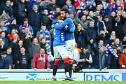 Connor Goldson (#6) of Rangers FC celebrates with James Tavernier (#2) of Rangers FC after victory during the Ladbrokes Scottish Premiership match between Rangers and Celtic at Ibrox, Glasgow, Scotland on 29 December 2018.