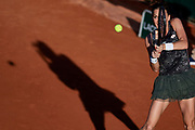 Paris, France - 2017 May 30: Agnieszka Radwanska from Poland plays a backhand during her women's single match first round during tennis Grand Slam tournament The French Open 2017 (also called Roland Garros) at Stade Roland Garros on May 30, 2017 in Paris, France.<br /> <br /> Mandatory credit:<br /> Photo by &copy; Adam Nurkiewicz<br /> <br /> Adam Nurkiewicz declares that he has no rights to the image of people at the photographs of his authorship.<br /> <br /> Picture also available in RAW (NEF) or TIFF format on special request.<br /> <br /> Any editorial, commercial or promotional use requires written permission from the author of image.