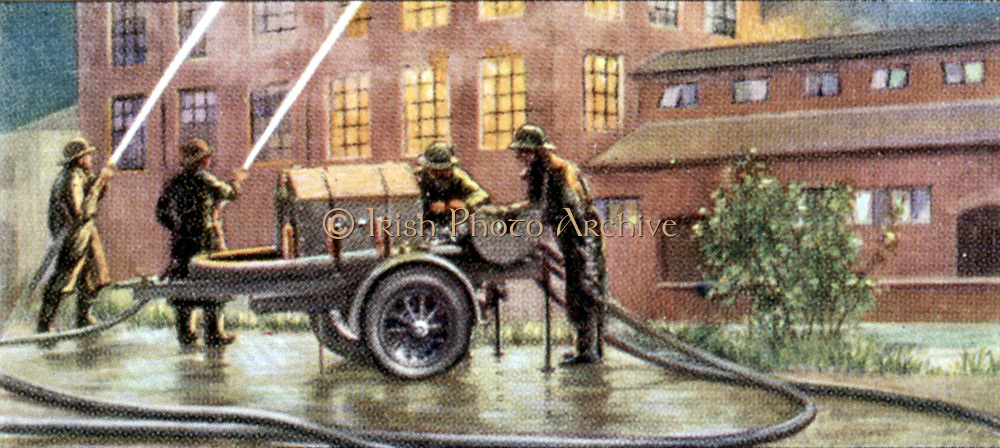 Air Raid Precautions: Set of 50 cards issued by WD & H0 Wills, Britain 1938, in preparation for the anticipated coming of World War II. Medium trailer fire pump which could be attached to private cars or light commercial vehicles to augment the official fire services Here in action fighting a factory fire.