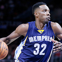 23 February 2015: Memphis Grizzlies forward Jeff Green (32) drives to the basket during the Memphis Grizzlies 90-87 victory over the Los Angeles Clippers, at the Staples Center, Los Angeles, California, USA.