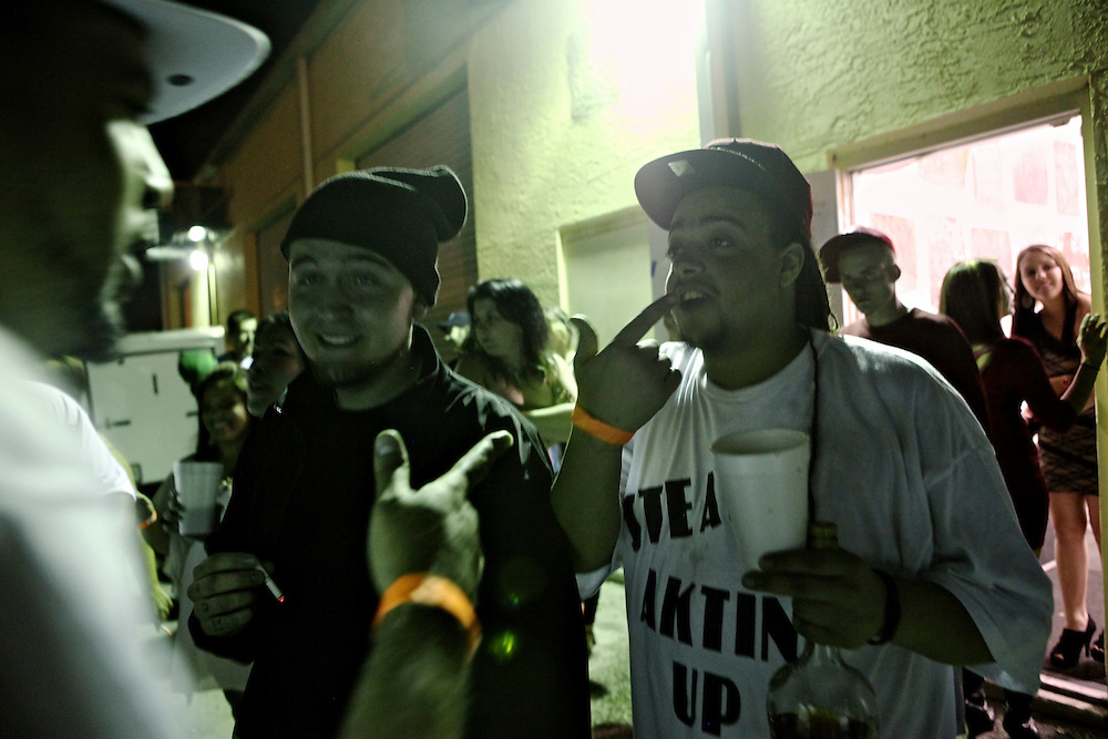 Rappers EbGb, and Colby Roderick, a.k.a. Steady, a member of Hygher Level, and others hang out after the Fear The Chausso 5 concert at Squarehead Venue in Naples. This was a rare occasion for Fort Myers and Naples hip hop artists to come together for one show.