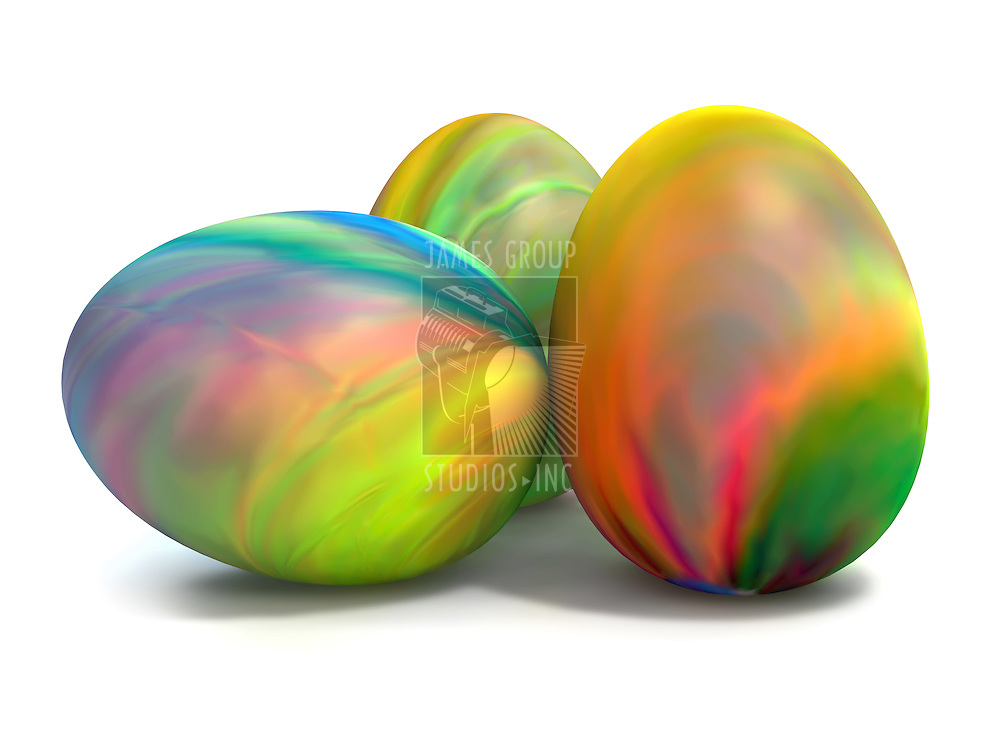 Ink Colored Easter Eggs on white