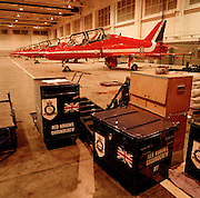 Flight spare for the 'Red Arrows', Britain's Royal Air Force aerobatic team before secondment for training in Cyprus.