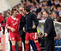 Photo: Jed Wee.<br />Hartlepool United v Bristol City. Coca Cola League 1. 15/04/2006.<br /><br />Bristol City scorer David Noble (L) celebrates with substitute Richard Keogh.