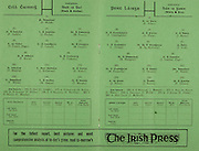 All Ireland Senior Hurling Championship Final,.01.09.1963, 09.01.1963, 1st September 1963,.Minor Wexford v Limerick, .Senior Kilkenny v Waterford, Kilkenny 4-17 Waterford 6-08,..The Irish Press, ..Kilkenny,.P Walsh, P Larkin, J Phelan, M Treacy, S Cleere (Capt), T Carroll, M Coogan, P Moran, S Clohessy, D Heaslip, J McGovern, E Keher, T Walsh, 14 W Dwyer, T Murphy, O Gough, A Kelly, P Dillon, S Buckley, L Murphy, ..Waterford,.E Power, T Cunningham, A Flynn, J Byrne, L Guinan, M O Morrissey, J Irish, M Dempsey, J Condon (Capt), M Flannelly, T Cheasty, F Walsh, J Power, J Barron, P Grimes, J Meaney, C Ware, S Walsh, P Flynn, J McGrath,