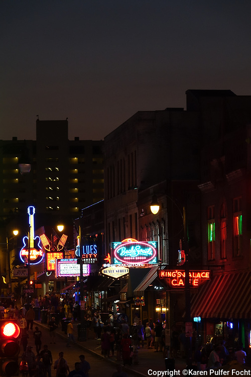 Beale Street in Memphis, Tennessee is the cities entertainment district, with eateries, shops, bars and lots of local music. Beale Street is located a few short blocks from he Mississippi River and is a favorite stop off point for river cruise ships.