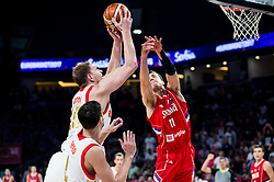 Timofey Mozgov of Russia vs Vladimir Lucic of Serbia during basketball match between National Teams of Russia and Serbia at Day 16 in Semifinal of the FIBA EuroBasket 2017 at Sinan Erdem Dome in Istanbul, Turkey on September 15, 2017. Photo by Vid Ponikvar / Sportida