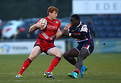 Jack Tovey of Bristol Rugby takes on Tyson Lewis of Doncaster Knights - Mandatory by-line: Robbie Stephenson/JMP - 13/01/2018 - RUGBY - Castle Park - Doncaster, England - Doncaster Knights v Bristol Rugby - B&I Cup