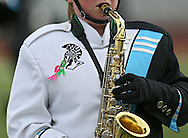 A member of the Trojan Marching Band from South Tama Couty High School performs on the field at the State Marching Band Festival at Kingston Stadium in Cedar Rapids on Saturday October 6, 2012. Members of the band were wearing ribbons for Sabrina Betz and Ian McFate.