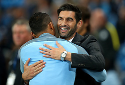 Former FC Porto colleagues Shakhtar Donetsk head coach Paulo Fonseca greets Danilo of Manchester City before the match - Mandatory by-line: Matt McNulty/JMP - 26/09/2017 - FOOTBALL - Etihad Stadium - Manchester, England - Manchester City v Shakhtar Donetsk - UEFA Champions League Group stage - Group F