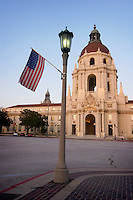 U.S. Flag Hanging on Lamppost in Front of City Hall on Labor Day, Pasadena, California