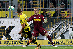 DORTMUND, Sept. 24, 2017  Maximilian Philipp (L) of Borussia Dortmund scores during the Bundesliga match between Borussia Dortmund and Borussia Moenchengladbach at the Signal Iduna Park in Dortmund, Germany, on Sept. 23, 2017. Dortmund won the match by 6-1. (Credit Image: © Joachim Bywaletz/Xinhua via ZUMA Wire)
