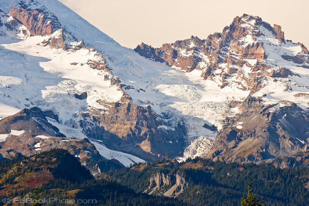 Little Tahoma Peak on Mount Rainier with Ingraham Glacier (middle) Gibraltar Rock (upper left) and the Cowlitz Glacier on the left. Mount Rainier National Park, WA USA