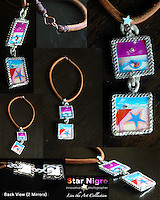 """Graffiti art Necklace created exclusively by Star Nigro <br /> <br /> A one of a kind designed & handmade photo jewel created in the Hudson Valley, NY by Star Nigro. <br /> <br /> About/Materials: This set is made up of one of  my photos of Boston's graffiti encased in glass with gem edges, swaravski crystal <br /> +2 mirrors on back<br /> Can be worn both ways making it a 2 in 1 piece. w/ copper hook and cord. <br /> <br /> Comfortable feel, light weight & durable<br /> <br /> size: 14"""" length x 1 7/8""""width<br /> <br /> price: $52.00"""