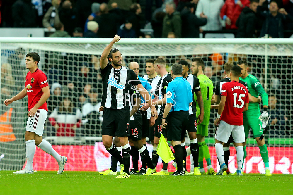 Andy Carroll (#7) of Newcastle United celebrates after Newcastle United defeat Manchester United 1-0 in the Premier League match between Newcastle United and Manchester United at St. James's Park, Newcastle, England on 6 October 2019.