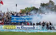 FC Helsingør fans byder spillerne velkommen til kampen i NordicBet Ligaen mellem FC Helsingør og Lyngby Boldklub den 25. maj 2019 på Helsingør Stadion. (Foto: Claus Birch / ClausBirchDK Sportsfoto).