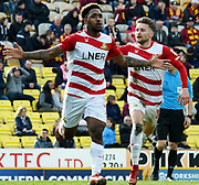 Mallik Wilks celebrates his goal during the EFL Sky Bet League 1 match between Bradford City and Doncaster Rovers at the Northern Commercials Stadium, Bradford, England on 6 April 2019.