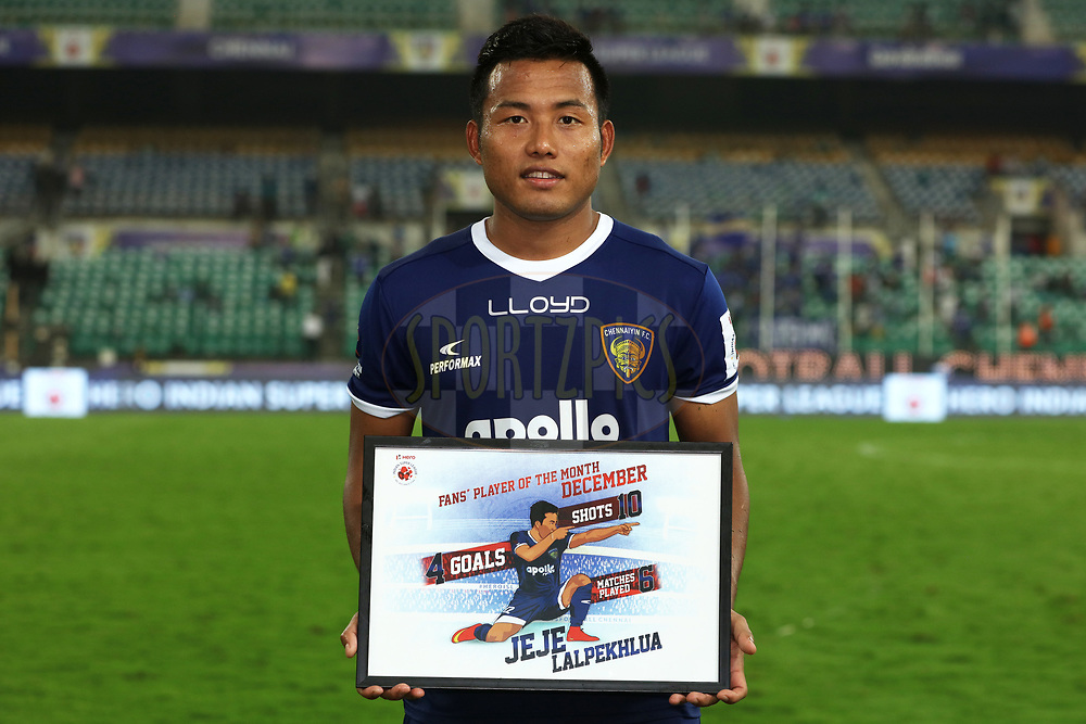 Fans player of the month December, Jeje Lalpekhlua of Chennaiyin FC during match 46 of the Hero Indian Super League between Chennaiyin FC and FC Pune City held at the Jawaharlal Nehru Stadium, Chennai India on the 13th January 2018<br /> <br /> Photo by: Saikat Das  / ISL / SPORTZPICS