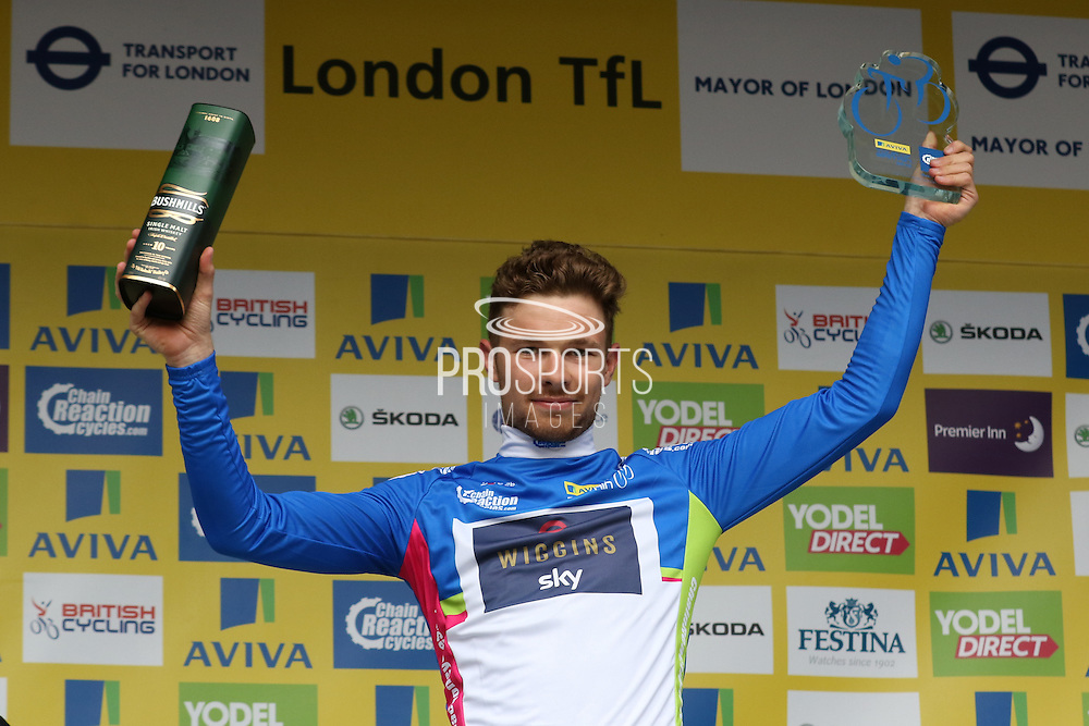 Owain Doull celebrates at the Aviva Tour of Britain, Regent Street, London, United Kingdom on 13 September 2015. Photo by Ellie Hoad.