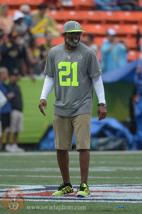 January 26, 2014; Honolulu, HI, USA; Team Sanders alumni captain Deion Sanders before the 2014 Pro Bowl at Aloha Stadium.