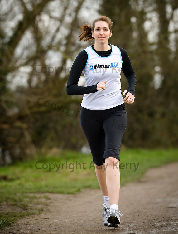 South East Water's Communications Assistant, Jo Sword in training for the Bath half marathon in aid of Water Aid, Leybourne Lakes, Maidstone, Kent, 16th February 2011.