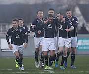 Peter MacDonald is congratulated after scoring Dundee's winner - Dumbarton v Dundee  - SPFL Championship at the Bet Butler Stadium<br /> <br />  - &copy; David Young - www.davidyoungphoto.co.uk - email: davidyoungphoto@gmail.com