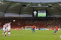 Photo: Glyn Thomas.<br />Spain v Tunisia. FIFA World Cup 2006. 19/06/2006.<br /> Spain's David Villa (R) takes a free kick in Stuttgart's Gottlieb Daimler Stadium.