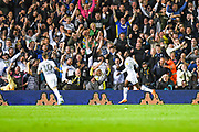 Leeds United forward Eddie Nketiah (14) scores a goal and celebrates to make the score 1-0 during the EFL Sky Bet Championship match between Leeds United and Brentford at Elland Road, Leeds, England on 21 August 2019.