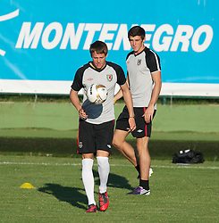 PODGORICA, MONTENEGRO - Thursday, September 2, 2010: Wales' Chris Gunter and Gareth Bale during a training session at the Montenegro FA Technical Centre ahead of the UEFA Euro 2012 Qualifying Group 4 match against Montenegro. (Pic by David Rawcliffe/Propaganda)