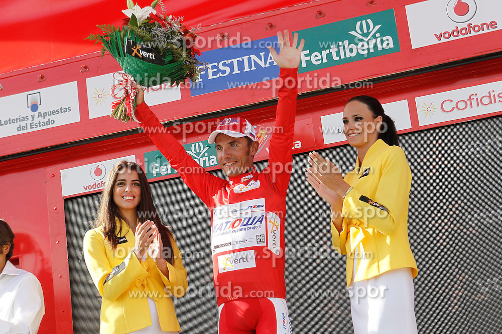 01.09.2012, 14. Etappe, Palas de Rei nach Puerto de Ancares, ESP, La Vuelta, im Bild Joaquin Purito Rodriguez with the red jersey of leader // after // during the La Vuelta, Stage 14 Palas de Rei to Puerto de Ancare, Spain on 2012/09/01. EXPA Pictures © 2012, PhotoCredit: EXPA/ Alterphotos/ Acero..***** ATTENTION - OUT OF ESP and SUI *****