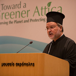 Father John Chryssavgis speaking at the opening of the Green Attica symposium in Athens.